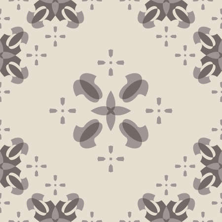 Seamless retro, vintage pattern. Chocolate color and cream ivory. Spirals and abstract. Vector. Illustration