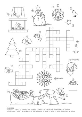 Crossword puzzle. This Christmas theme crossword puzzle game is for kids. Game and Coloring page. English language