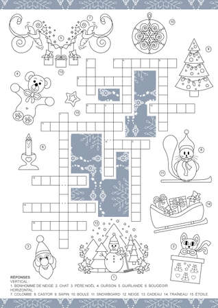 Crossword puzzle. Christmas theme crossword puzzle game. For kids. Game and Coloring page. French language. Vector illustration.