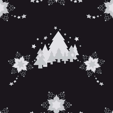 Christmas seamless pattern. Stars and fir forest. Black and gray. Vector illustration.