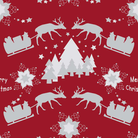 Christmas seamless pattern. Reindeer and his sleigh. Stars and fir forest. Red and gray. Vector illustration.