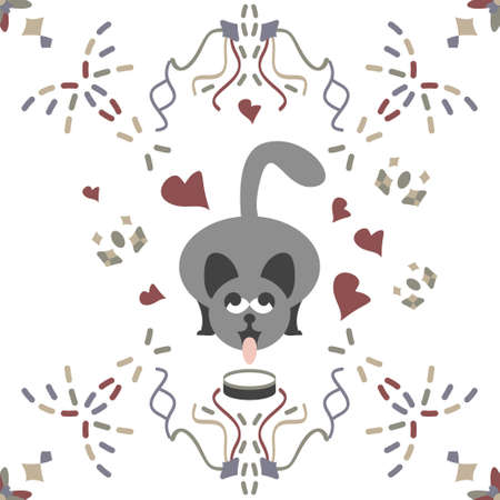 Seamless pattern. Gray cat drinking milk. Funny and cute. illustration vector white and colors.