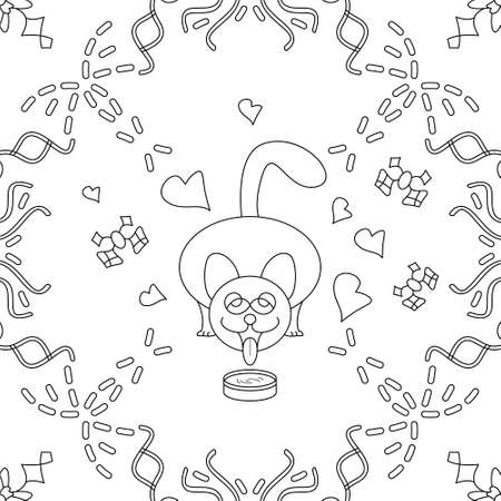Seamless pattern. Cat drinking milk. Funny and cute. Noir et blanc. Vector. Illustration