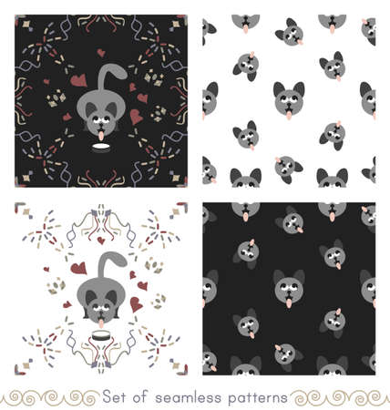 Set of seamless patterns. Gray cat drinking milk and Gray cat heads sticking out their tongue. Funny and cute. Vector. Illustration