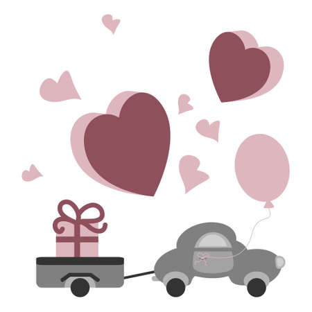 Cute little car with its trailer carrying a big gift. Little hearts raspberry color. Transparent background. Vector illustration.