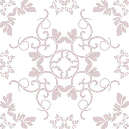 Seamless pattern with hearts, interlaced spirals and birds. Romantic. Rosewood color and white. Vector. Illustration