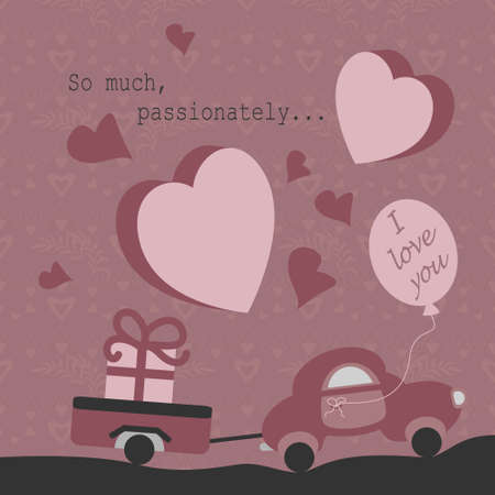 Cute little car with its trailer carrying a big gift. With text in English Language