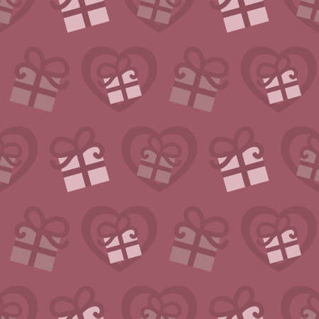 Seamless pattern for Valentine's Day with gifts and hearts. Raspberry color. Vector.