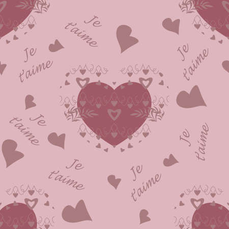 Seamless pattern for Valentine's Day, declaration of love with little hearts and text in french language, I love you. Light pink color. Vector.