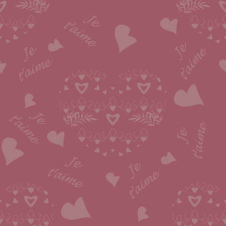 Seamless pattern for Valentine's Day, declaration of love with little hearts and text in french language, I love you. Raspberry color. Vector.
