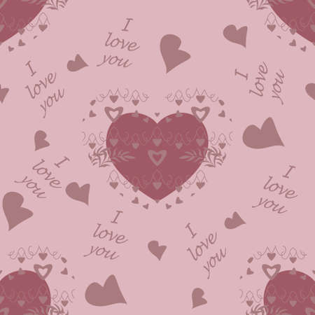 Seamless pattern for Valentine's Day, declaration of love with little hearts and text in English language, I love you. Light pink color. Vector. Illustration