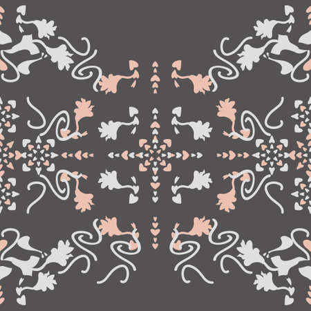 Floral seamless pattern with lily flowers and hearts. Gray and pastel orange. Vector. Illustration