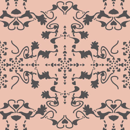 Floral seamless pattern with lily flowers and hearts. Pastel orange and Gray. Vector.