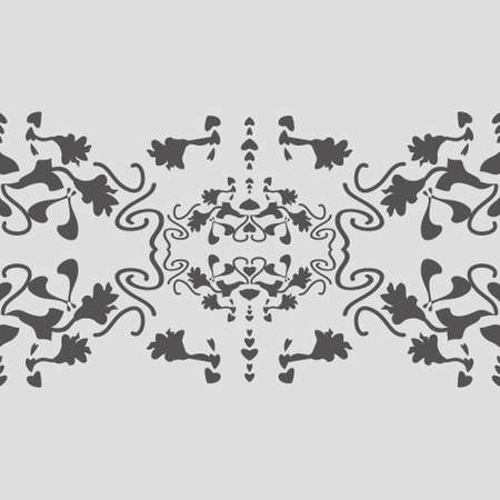 Floral seamless pattern with lily flowers and hearts. Gray. Vector Illustration