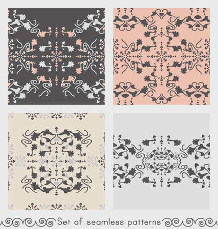 Set of floral seamless patterns with lily flowers and hearts. Gray, cream ivory and pastel orange. Vector. Illustration
