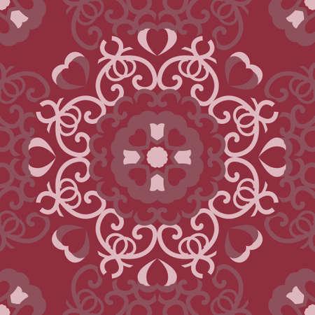 Pretty hearts seamless pattern. Raspberry color. Vector.