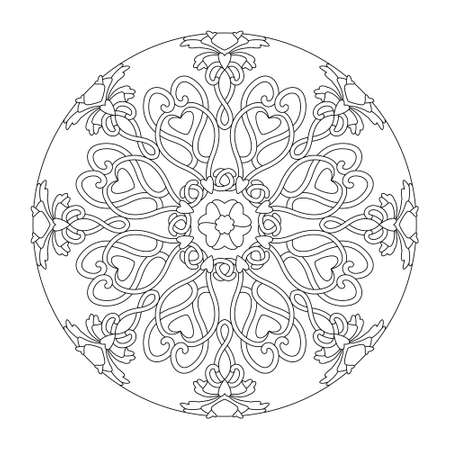 Mandala. Hearts interlaced. Black and white, vector illustration. Anti-stress coloring page. Illustration