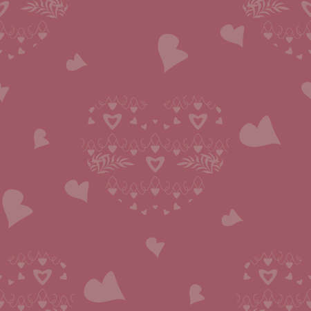Seamless pattern with hearts and leaves. Raspberry color. Vector.