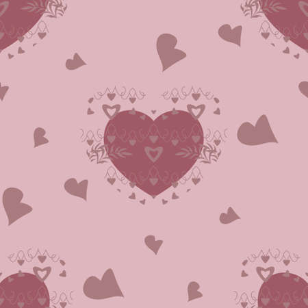 Seamless pattern with hearts and leaves. Light pink color. Vector.