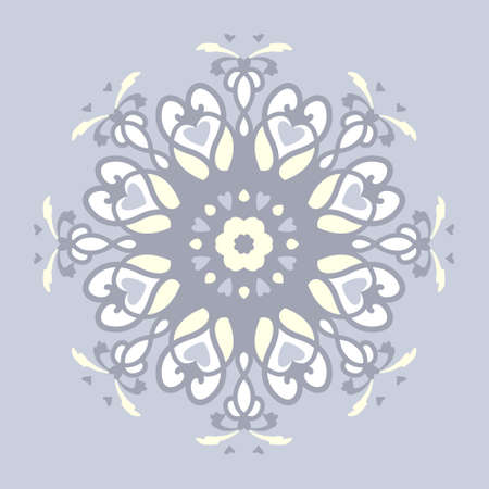 Pattern. Color Mandala with hearts. Pastel blue jean color, pale yellow and white. Pastel colors. Vector.