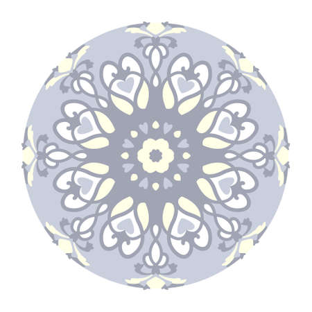 Mandala with hearts. Pattern. Pastel blue jean color, pale yellow and white. Pastel colors. Transparent background. Vector.