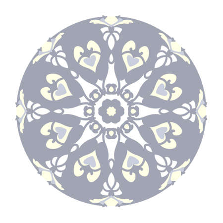 Mandala with hearts and candles. Pattern. Blue jean color, pale yellow and white. Pastel colors. Transparent background. Vector.