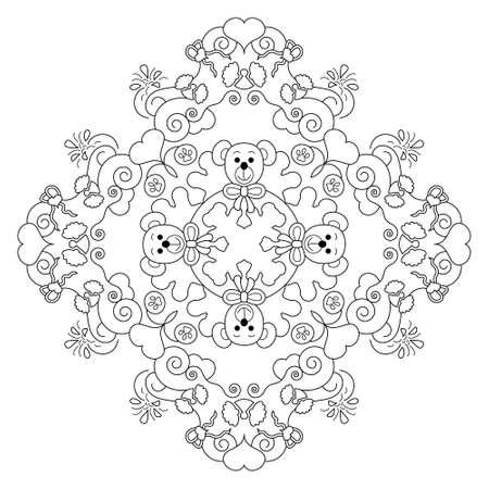 Cute bears, hearts and angels. Christmas mandala. Coloring page. Vector illustration.