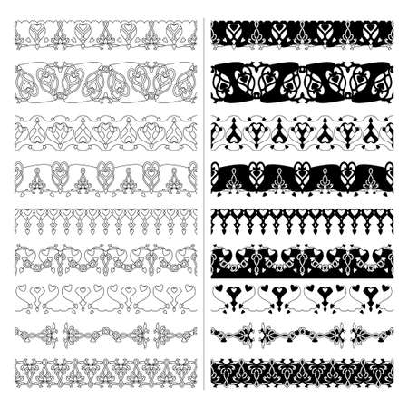 Decorative seamless borders. Hearts, spirals and interlaced. Black and transparent. Vector.