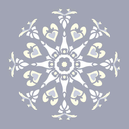 Mandala with hearts and candles. Pattern. Blue jean color, pale yellow and white. Pastel colors. Vector.