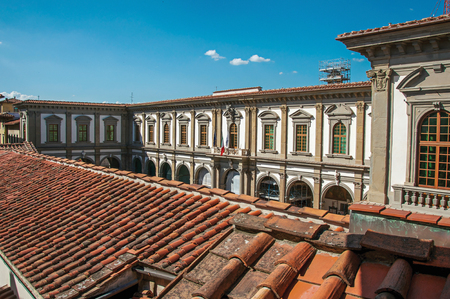 balcony: Rooftop view in building with sunny blue sky in the city of Florence, the famous and amazing capital of the Italian Renaissance. Located in the Tuscany region