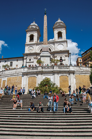 Rome, Italy - May 19, 2013. Spanish Steps with the Trinit� dei Monti church at the top in Rome, the incredible city of the Ancient Era, known as The Eternal City. Lazio region, central Italy Editorial