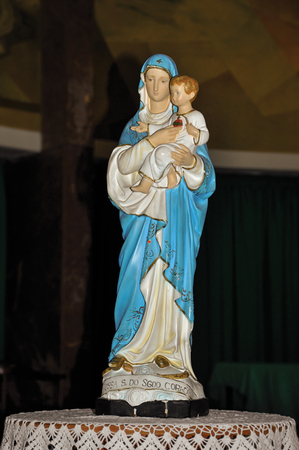 Close-up of statuette with image of Our Lady holding the boy Jesus in the Sanctuary of the Souls church, in the coastal city of Niteroi. Located in the Rio de Janeiro State, southwestern Brazil Editorial