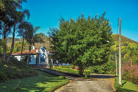 View of typical architecture of the region, near Monte Alegre do Sul. In the countryside of S?o Paulo State, the region rich in agricultural and livestock products, southwestern Brazil Stock Photo