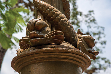 Close-up of fountain decorated with dolphins in square at Bananal, a quiet and graceful countryside village. Located in the Sao Paulo State, southwestern Brazil
