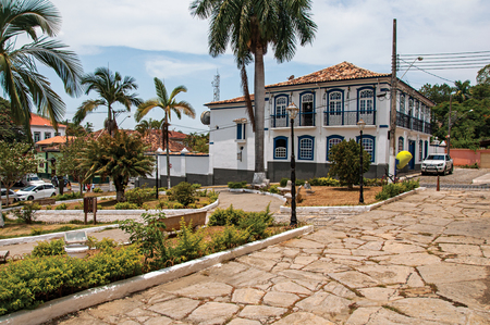 Bananal, Brazil - January 21, 2015. Old building facade in front of the square and cobblestone street in Bananal, a quiet and graceful countryside village. São Paulo State, southwestern Brazil Editorial