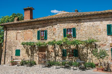Facade view of an old house with creepers in the hamlet of Monteriggioni. A medieval fortress, surrounded by stone walls, at the top of a hill, near Siena. Located in the Tuscany region