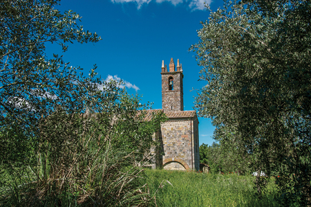 Overview of church and bell tower with trees around in the hamlet of Monteriggioni. A medieval fortress, surrounded by stone walls, at the top of a hill, near Siena. Located in the Tuscany region