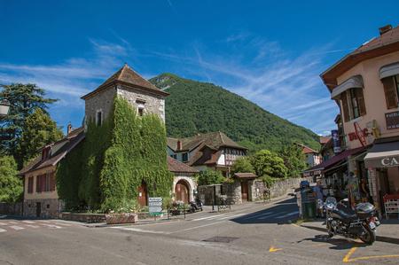 Menthon-Saint-Bernard, France - June 29, 2016. Street in the village of Menthon-Saint-Bernard, near the Lake of Annecy. Department of Haute-Savoie, Auvergne-Rhone-Alpes region, south-eastern France