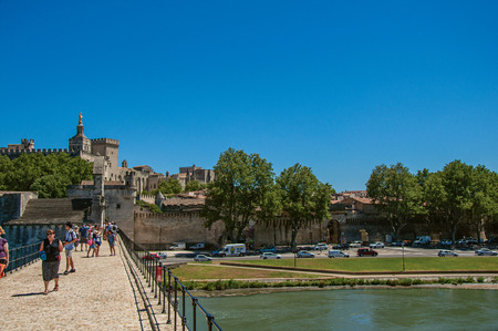 Avignon, France - July 06, 2016. View of the historic center of Avignon from Pont dAvignon. Located in the Vaucluse department, Provence region, southeast of France Stock Photo