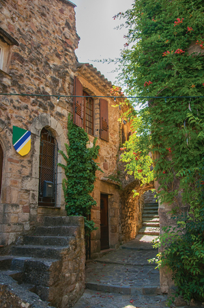 Close-up of stone facade with bindweed in an alley, at the gorgeous medieval hamlet of Les Arcs-sur-Argens, near Draguignan. Located in the Provence region, Var department, southeastern France Stock Photo