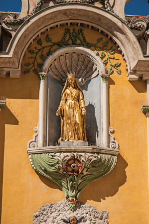 View of golden sculpture in the church of Vence, a stunning medieval hamlet completely preserved. Located in the Alpes-Maritimes department, Provence region, southeastern France