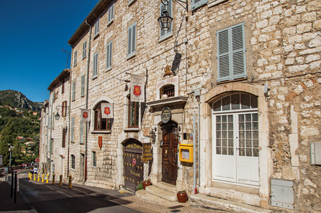 Vence, France - July 13, 2016. Street view of stone buildings and hostel in Vence, a stunning medieval town completely preserved. In Alpes-Maritimes department, Provence region, southeastern France