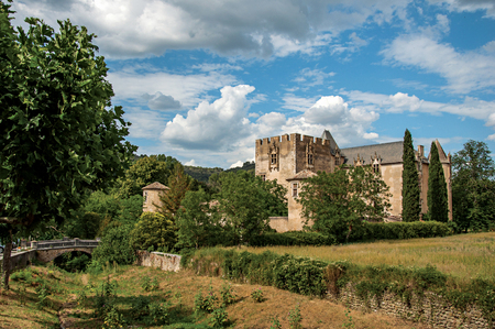 Panoramic view of Allemagne-en-Provence Castle, near the village of the same name. Located in the Alpes-de-Haute-Provence department, Provence-Alpes-Cote dAzur region, southeastern France