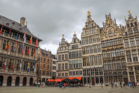 Antwerp, Northern Belgium - July 02, 2017. Old buildings and City Hall at the Grote Market Square in Antwerp. Port and multicultural city, it is known as one of the main gateways for goods in Europe. Editorial
