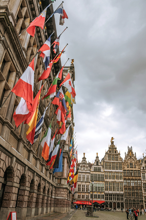 Antwerp, Northern Belgium - July 02, 2017. City Hall and old buildings at the Grote Market Square in Antwerp. Port and multicultural city, it is known as one of the main gateways for goods in Europe. Editorial