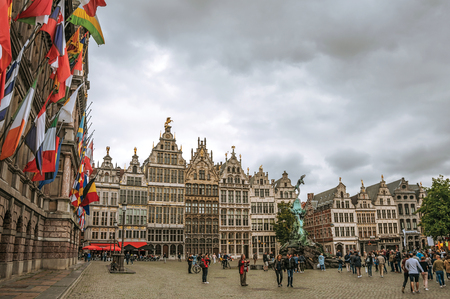 Antwerp, Northern Belgium - July 02, 2017. City Hall and old buildings at the Grote Market Square in Antwerp. Port and multicultural city, it is known as one of the main gateways for goods in Europe. Sajtókép