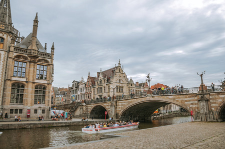St Michaels Bridge, churches and Gothic buildings in Ghent Stock Photo