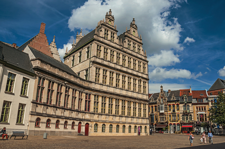 Ghent, Belgium - July 03, 2017. People and old buildings with restaurants in Ghent. In addition to intense cultural life, the city is full of Gothic and Flemish style buildings. Northern Belgium. Editorial