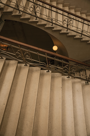 Brussels, Central Belgium - July 04, 2017. Stone and iron staircase in Art Nouveau style at Brussels. Vibrant and friendly, is the countrys capital and administrative center of the EU.