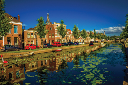 Tree-lined canal with aquatic plants and brick houses at the bank on sunset in Weesp. Quiet and pleasant village full of canals and green near Amsterdam. Northern Netherlands. Retouched photo. Stockfoto